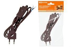 Шнур с выключателем и плоской вилкой с вырезом ШУ03В ШВВП 2*0.75  2м. Коричневый TDM