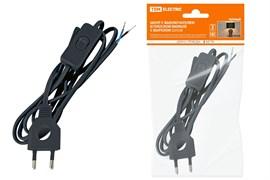 Шнур с выключателем и плоской вилкой с вырезом ШУ03В ШВВП 2*0.75  2м. Черный TDM