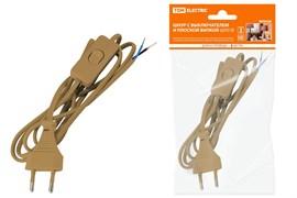 Шнур с выключателем и плоской вилкой ШУ01В ШВВП 2*0.75  2м. Бронза TDM