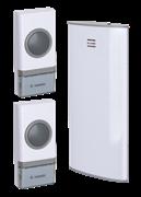 Звонок беспроводной полифонический 32 мелодий 150м белый 2 кнопки Космос КОС AG307C2