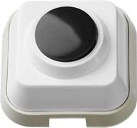 Кнопка для звонка черная, белый корпус, 220В
