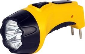 Фонарь Smartbuy ручной SBF-87-Y (акк.4V 0.5Ah) 4с ветодиода + 6 светодиодов жёлтый/пластик вилка220V
