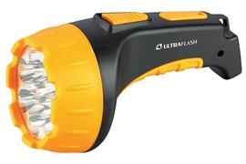 Фонарь Ultraflast LED 3815 аккумулятор 220 в чёрный/жёлтый пластик короб 2 режима 9217