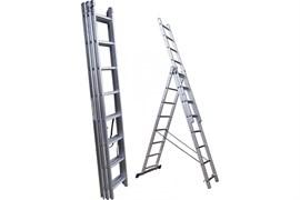 Лестница-трансформер Dogrular, 3-секционная, алюминиевая, 14 ступеней, регулируемая высота: 3.95/7.25/10.55м