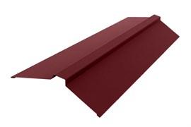 Конек для кровли плоский широкий 0.5x190x190x2000м, с ребром жесткости, оцинкованный с покрытием, RAL 3005 вишня