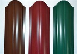 Штакетник полукруглый фигурный ПРВ РЕ 0.4x100x1200мм, оцинкованная сталь с полимерным покрытием, RAL 3005 вишня