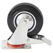 Колесо поворотное Сибртех с тормозом, диаметр 160мм, платформенное крепление