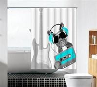 Шторка для ванной комнаты тканевая Меломан MZ-102, 180x180см, водонепроницаемая
