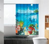 Шторка для ванной комнаты тканевая Морская братия MZ-110, 180x180см, водонепроницаемая