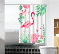 Шторка для ванной комнаты тканевая Розовый фламинго MZ-103, 180x180см, водонепроницаемая
