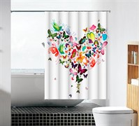 Шторка для ванной комнаты тканевая Сердце MZ-92, 180x180см, водонепроницаемая