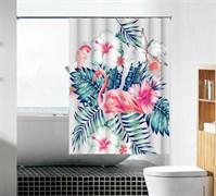 Шторка для ванной комнаты тканевая Фламинго в цветах MZ-104, 180x180см, водонепроницаемая