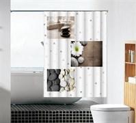 Шторка для ванной комнаты тканевая Чистота MZ-95, 180x180см, водонепроницаемая