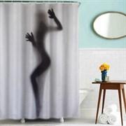 Шторка для ванной комнаты тканевая Девушка-загадка MZ-39, 180x180см, водонепроницаемая
