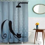 Шторка для ванной комнаты тканевая Кот в душе MZ-40, 180x200см, водонепроницаемая