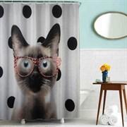 Шторка для ванной комнаты тканевая Кот в очках MZ-41, 180x180см, водонепроницаемая