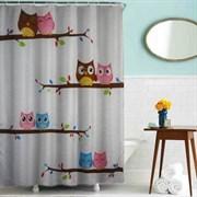 Шторка для ванной комнаты тканевая Совы MZ-43, 180x200см, водонепроницаемая