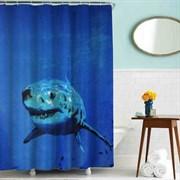 Шторка для ванной комнаты тканевая Акула MZ-44, 180x200см, водонепроницаемая
