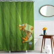 Шторка для ванной комнаты тканевая Лягушка MZ-51, 180x200см, водонепроницаемая