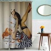 Шторка для ванной комнаты тканевая Дама с собачкой MZ-52, 180x180см, водонепроницаемая