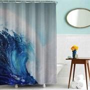 Шторка для ванной комнаты тканевая Волна MZ-62, 180x180см, водонепроницаемая
