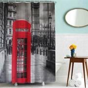 Шторка для ванной комнаты тканевая Лондонский телефон MZ-65, 180x180см, водонепроницаемая