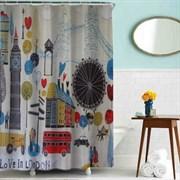 Шторка для ванной комнаты тканевая Лондон MZ-66, 180x180см, водонепроницаемая