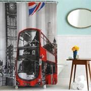 Шторка для ванной комнаты тканевая Лондонский автобус MZ-67, 180x180см, водонепроницаемая