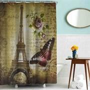 Шторка для ванной комнаты тканевая Эйфелева башня цветная MZ-69, 180x180см, водонепроницаемая