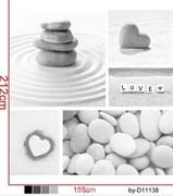 Шторка для ванной комнаты тканевая Любовь MZ-77, 180x200см, водонепроницаемая