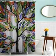 Шторка для ванной комнаты тканевая Дерево MZ-79, 180x200см, водонепроницаемая