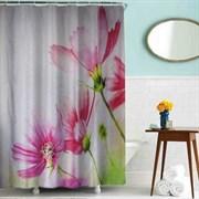 Шторка для ванной комнаты тканевая Цветы MZ-80, 180x200см, водонепроницаемая