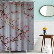 Шторка для ванной комнаты тканевая Цветущие ветви MZ-83, 180x180см, водонепроницаемая