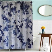 Шторка для ванной комнаты тканевая Синие листочки MZ-84, 180x180см, водонепроницаемая