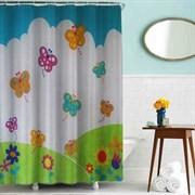 Шторка для ванной комнаты тканевая Бабочки MZ-85, 180x180см, водонепроницаемая