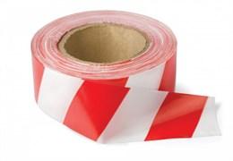 Лента сигнальная оградительная 70ммx200м, красно-белая, рулон