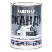 Антисептик/пропитка декоративно-защитная Акватекс СКАНДИ, кроющий, 0.75л, полуматовый, Лакрица
