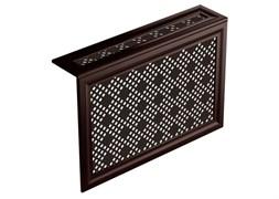 Экран навесной декоративный для радиатора Экраныч ХДФ с МДФ Г-образный, 600x1200x180мм, перфорация Рондо, цвет махагон
