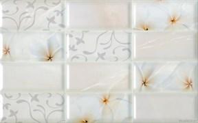 Плитка настенная керамическая облицовочная Мартиника 126441, 25x40мм, глянцевая, розовая с рисунком кирпичики цветы