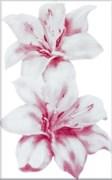 Плитка настенная керамическая декоративная облицовочная Декор Лилия 340042, 25x40см, глянцевая, белая с рисунком