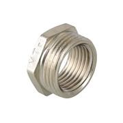 Фитинг резьбовой - футорка Valtec, 15x13.5мм (1/2х1/4 дюйм), латунная никелированная, наружный-внутренний