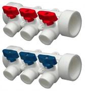 Коллектор полипропиленовый PPR ViEiR, 32x20мм (1 1/4x3/4 дюйма), 3 выхода, красный-синий