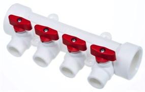 Коллектор полипропиленовый PPR ViEiR, 32x20мм (1 1/4x3/4 дюйма), 4 выхода, красный-синий