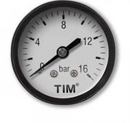 Манометр аксиальный Tim, 16 бар, резьба 13.5мм (1.4 дюйма)
