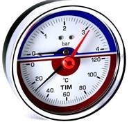 Термоманометр аксиальный Tim, 4 бара, для измерения температуры и давления теплоносителя отопительных систем и котлов