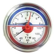 Термоманометр аксиальный Tim, 6 бар, для измерения температуры и давления теплоносителя отопительных систем и котлов