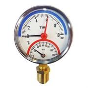 Термоманометр радиальный Tim, 10 баров, для измерения температуры и давления теплоносителя отопительных систем и котлов