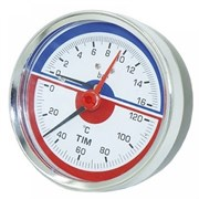 Термоманометр радиальный Tim, 16 баров, для измерения температуры и давления теплоносителя отопительных систем и котлов