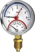 Термоманометр радиальный Tim, 6 баров, для измерения температуры и давления теплоносителя отопительных систем и котлов