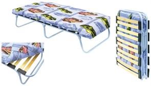 Кровать раскладная подростковая детская КТК ЛМ, 240x650x1450мм, на металлокаркасе с ламелями, с матрацем, максимальная нагрузка 80кг